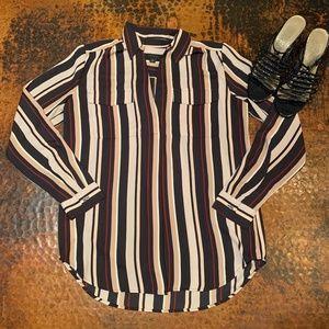 Ann Taylor Navy & Cream Stripe Button Down Shirt